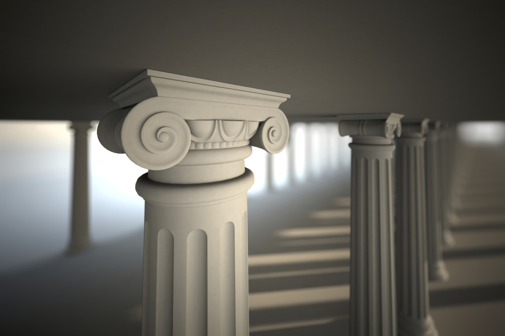 White greek columns.